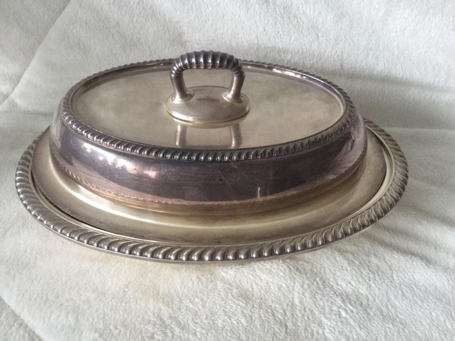 Vintage Serving Dish Silver Plate Oval Detachable Handle Lid ~GM Co. #0610
