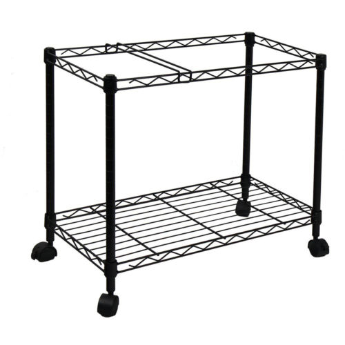 Portable 1-Tier Metal Rolling File Cart Sturdy Bottom Shelf For Supplies
