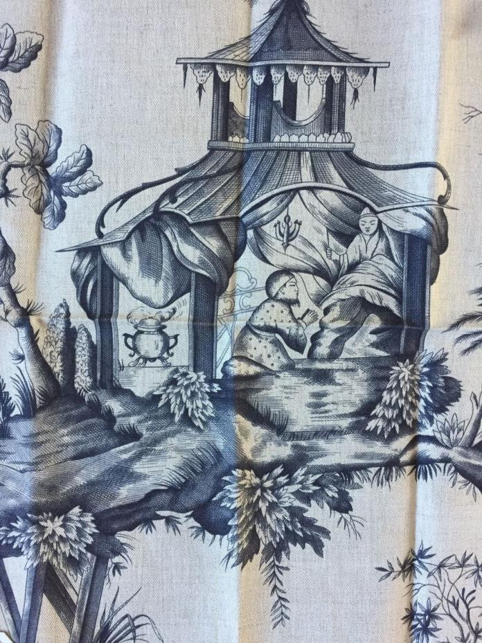 SCHUMACHER SHENGYOU TOILE in Charcoal Linen Blend Remnant New