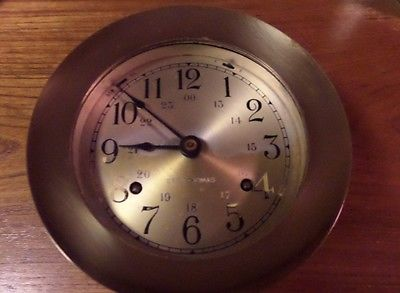 BRASS SHIPS CHIMING WIND CLOCK GERMAN WORKS WITH WEST GERMAN DUAL KEY -FIX/PARTS