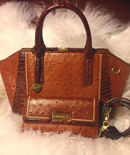Rare Brahmin NWT Morgan Ostrich Tri Texture Purse & Checkbook Wallet