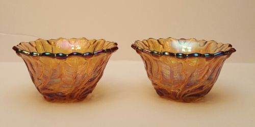 marigold carnival glass candle holders