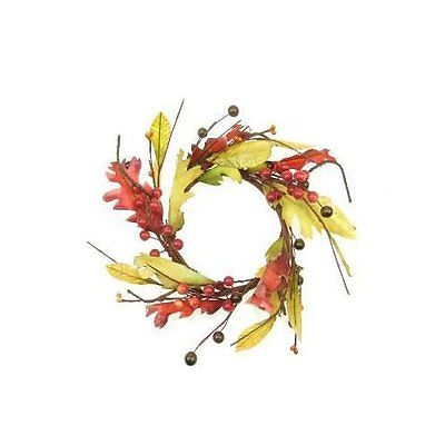 Shea's Wildflowers Maple Leaf and Berry Candle Ring Wreath