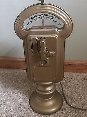 VINTAGE DUNCAN MILLER NICKEL PARKING METER LAMP WORKS INCLUDES KEY!