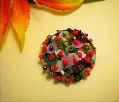 ANTIQUE VINTAGE PAD BACK FABRIC BUTTON WITH MULTI COLOR SEQUENCE & BEAD WORK