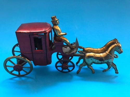 Tin Penny Toy. Horse Carriage With Rider. Made In France. 1910s. Super Rare.
