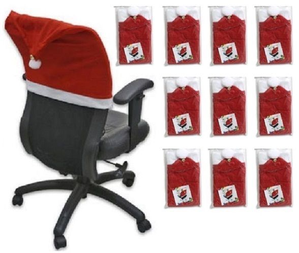 10-pack Red Polyester Christmas Santa Hat Chair Cover with Bell, 24