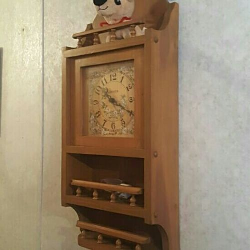 wood Wall Clock with shelf