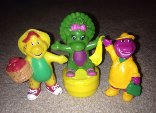 Vintage Barney BJ Baby Bop Toy Figure Lot 3 Lyons Group Toy Cake Topper