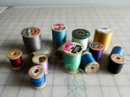 Vintage Wooden Spool Thread Craft supplies Lot