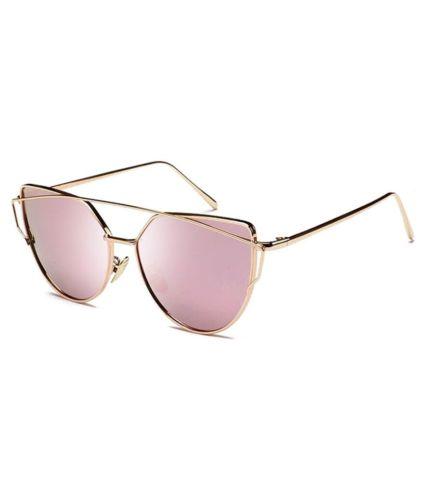 Women Metal Polarized Cat Eye Sunglasses Flat Lens Coating Sunglasses