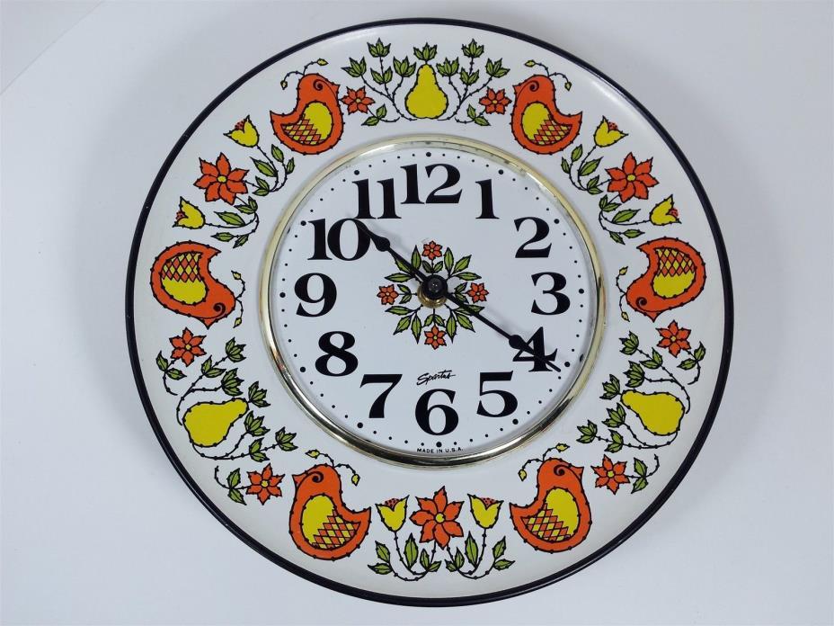 Vintage Spartus Wall Plate Clock Birds Pears Retro Kitchen