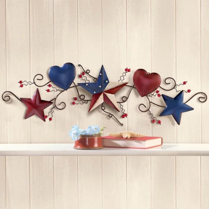 Patriotic Country Hearts and Stars Metal Scroll Wall Hanging 4th of July Decor