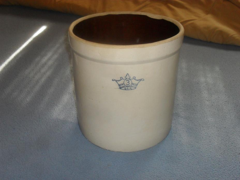 VINTAGE USA NO. 3 BLUE CROWN STONEWARE CROCK