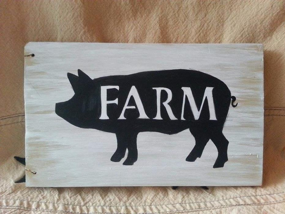 french country farm pig sign plaque hog decor smoked pork chic butcher wall art