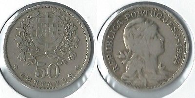 1944 Portugal 50 centavos coin