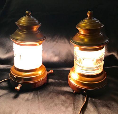 Vintage Electric Copper Nautical Anchor Lanterns Lamps