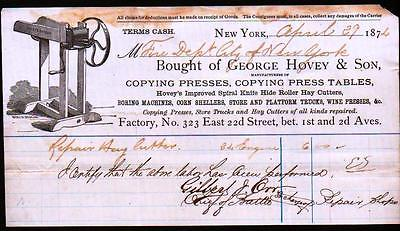1872 George Hovey & Son - Copying Presses - Corn Shellers - New York Letter Head