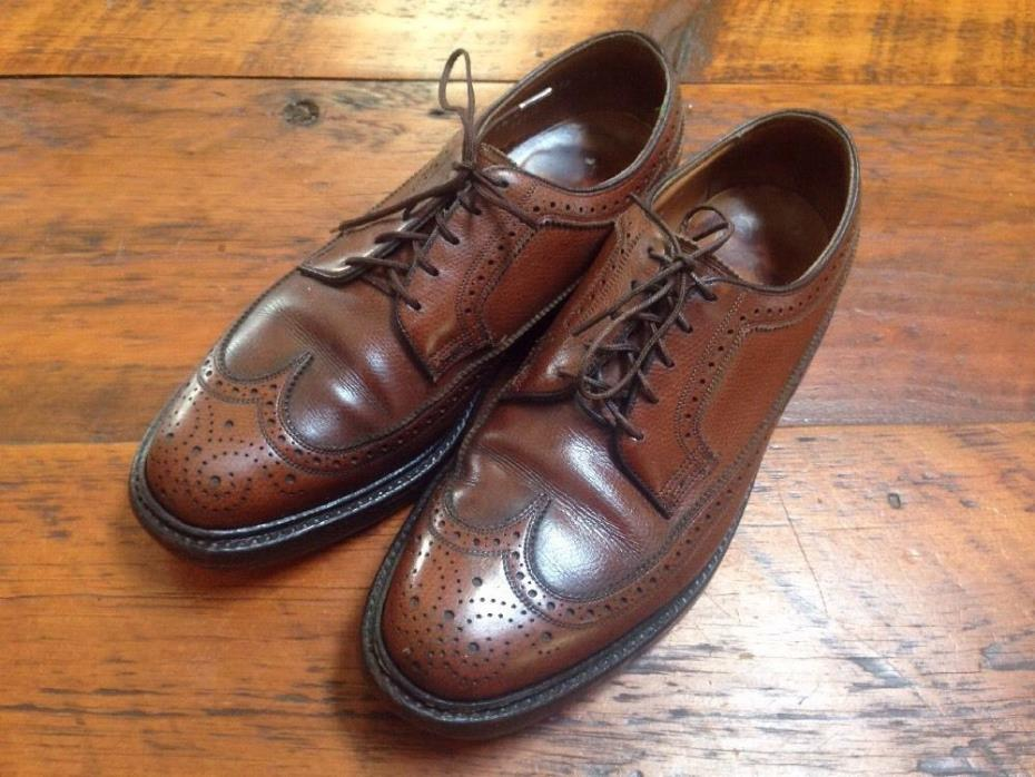 Vintage Florsheim Imperial Pebble Grain Leather V Cleat Long Wing Wingtip 7.5 E
