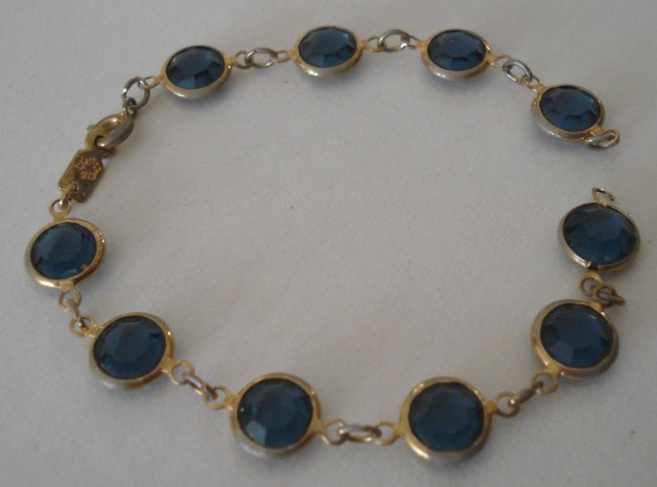 Vintage Swarovski Blue Crystal Bezel Set Bracelet Edelweiss Mark Repair Restore