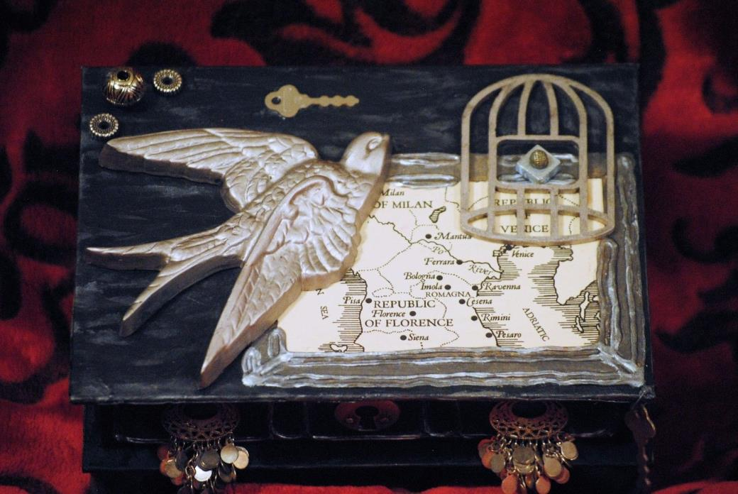 Steampunk Jewelry box Black & Silver Birds & birdcage mirror trinket box