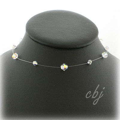 Single Strand Swarovski Crystal Illusion Necklace Clear AB