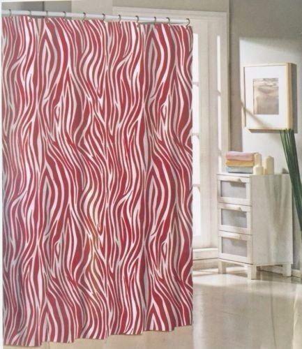 Pink Zebra Print Fabric Shower Curtain Striped Animal Bathroom Decor 70x72