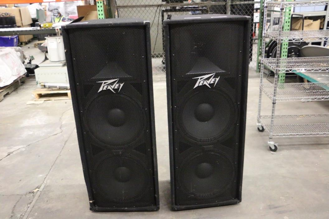 Pair of Peavey PV215 Dual 15 Inch 2 Way Passive PA Speakers 1400W Max. TESTED