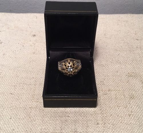 Konstantino Authentic Sterling Silver & 18k Gold Blue Topaz Ornate Ring Size 6
