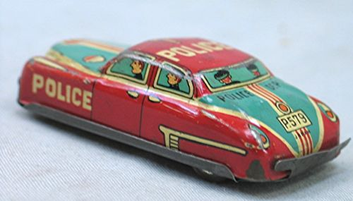 Vintage Small Tin Friction Police Car -- Japan
