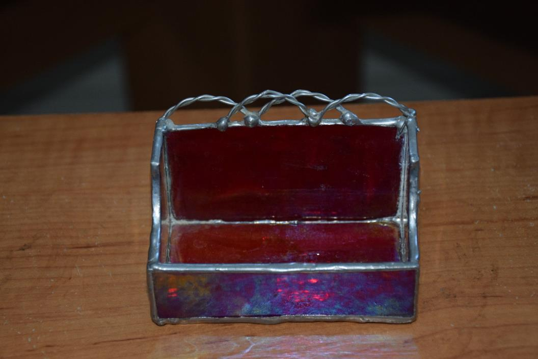 Beautiful Hand made  Stained/Jeweled Glass Business Card Holder