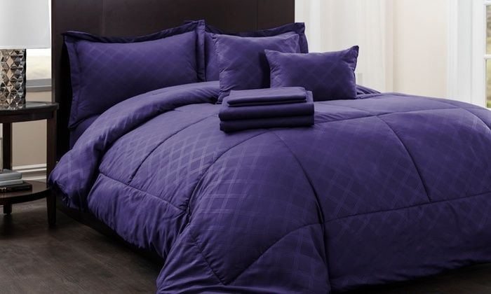Hotel New York 9pc Queen Plaid Bed-in-a-Bag Comforter w/Sheets - Purple 68-A-3