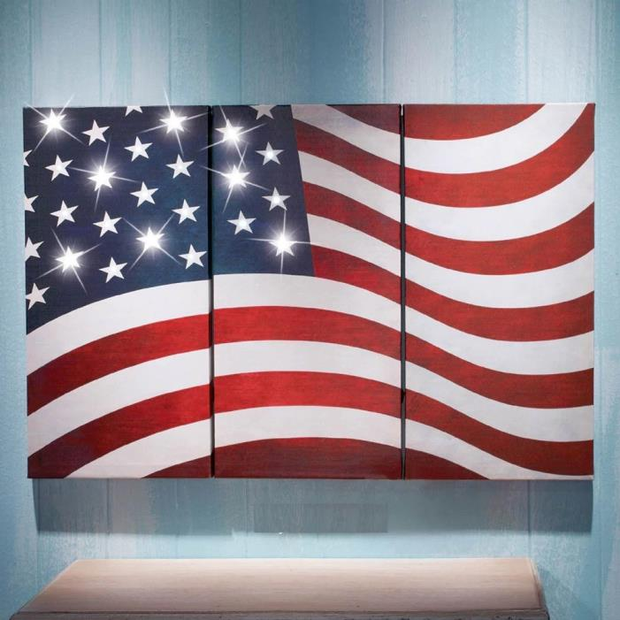 Patriotic Stars Stripes Lighted American Wall Flag Canvas 4th of July Decor