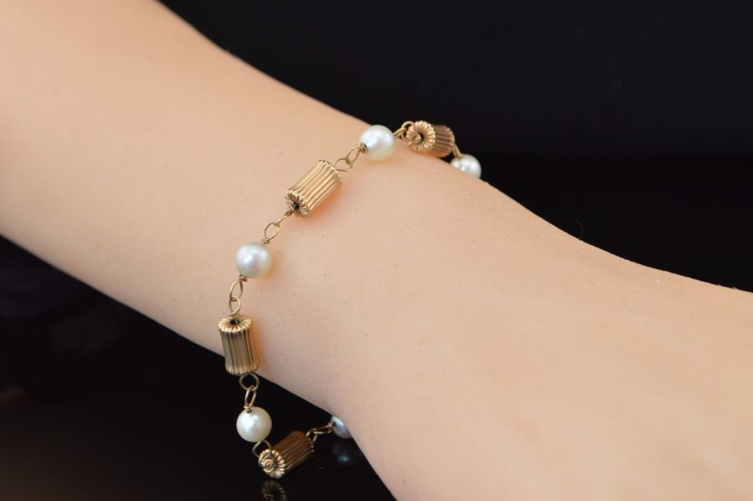 14K Yellow Gold & Pearl 7.5'' Bracelet Vintage Fine Estate Jewelry