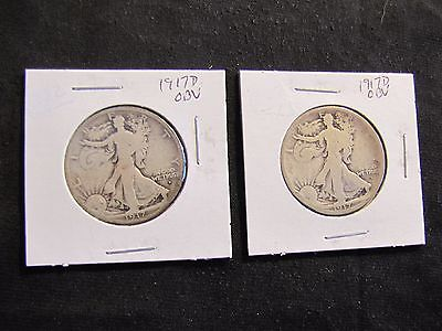 Lot of 2 1917-D Walking Liberty Silver Half Dollar Obverse Mintmark