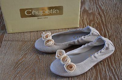Chupetin Girls Flower Linen Shoes Size EURO 29/US 12 NIB