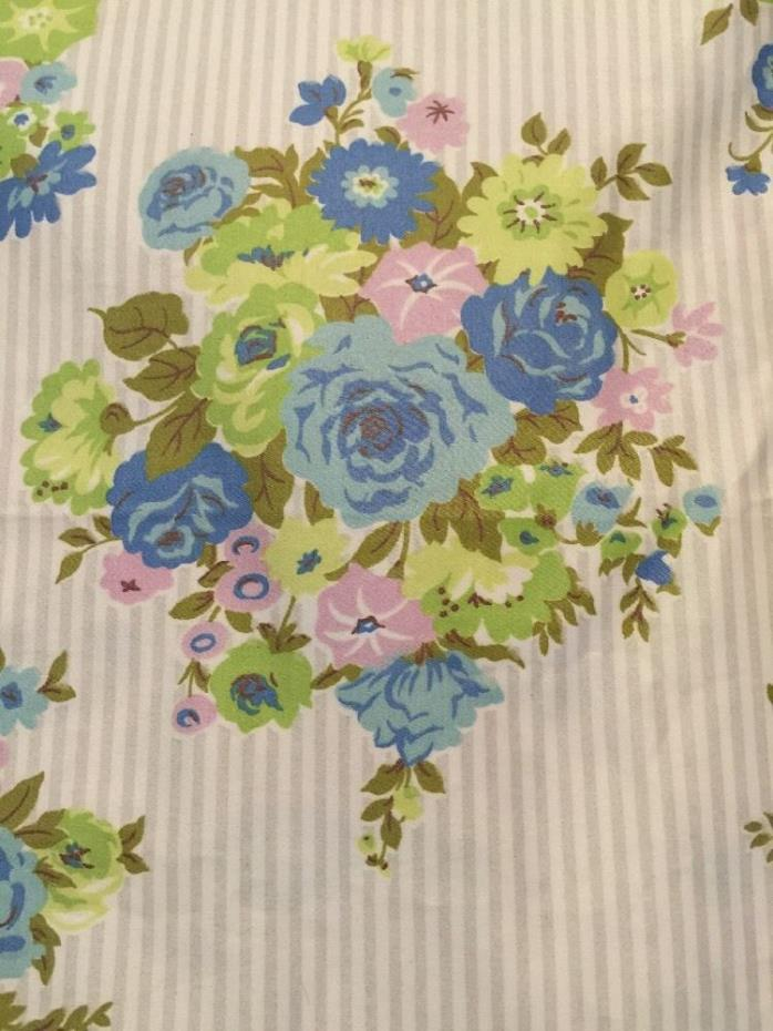 6 yards Vintage Waverly Bonded Fabric Minuet Rose 100% Combed Cotton Glosheen