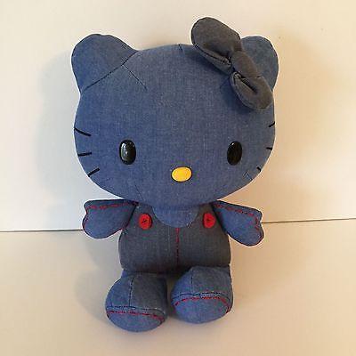 Hello Kitty Denim Stuffed Animal Plush Blue Jean Chambray 12