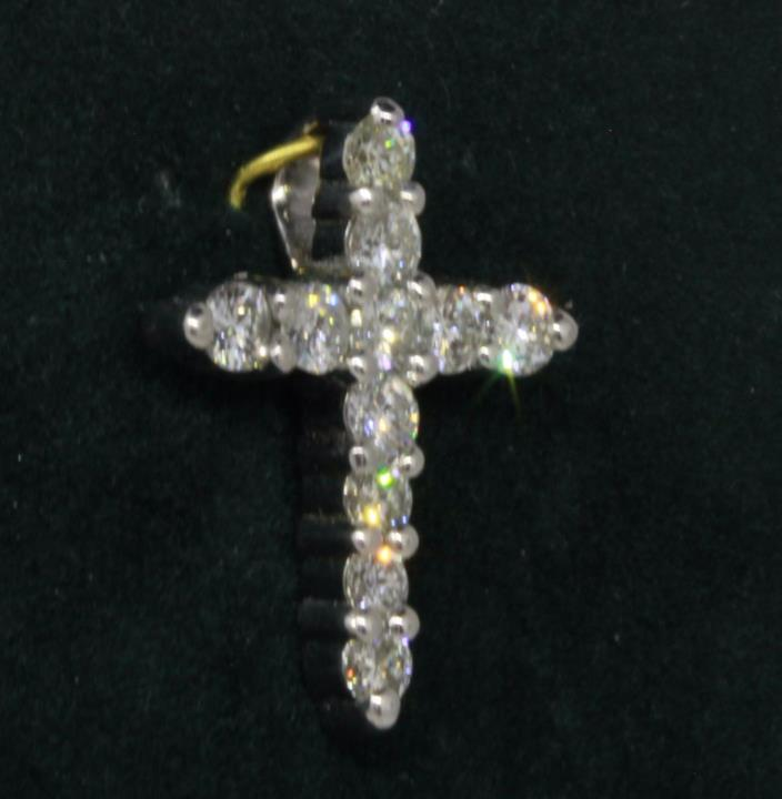 14k Solid White Gold Diamond Cross Pendant Signed by Artist  SALE