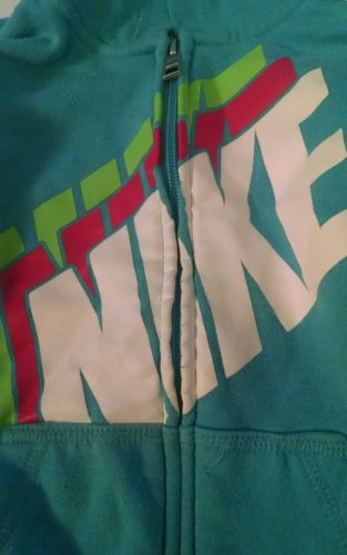 Girls turquoise NIKE zip up hoodie excellent condition size 6