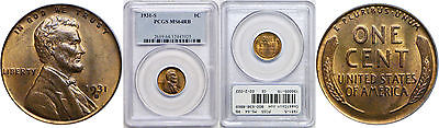 1931-S Lincoln Cent PCGS MS-64 RB