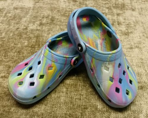 AIRWALK Clogs (crocs style) slip-on water shoes tye dye youth Size 13.5-1