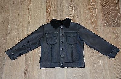Vecchio Ponte Boys Genuine Shearling Lamb Coat Jacket Black Size M/5 NWT ITALY!