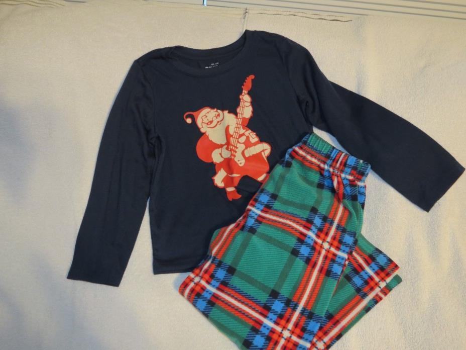 OshKosh Christmas Santa PJs -Navy/ Green & Red Plaid - Sze 6