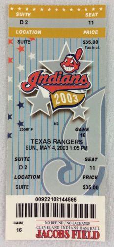 MLB 2003 05/04 Texas Rangers at Cleveland Indians Ticket-CC Sabathia WP