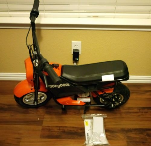 Mongoose 24V Mini Bike Orange 5/10mph, 250 Watts NEW