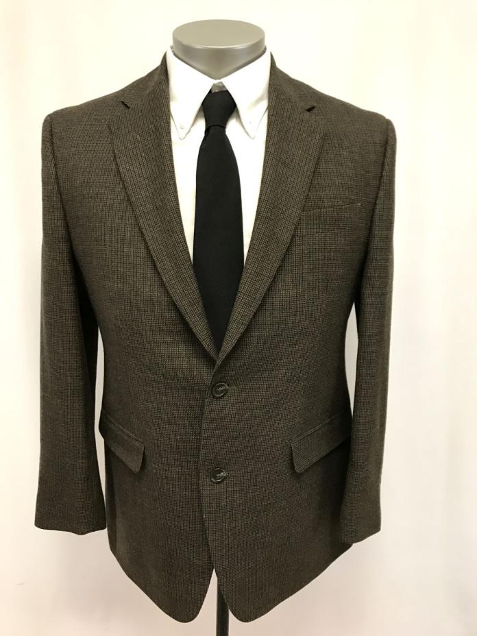 mens brown black CHAPS jacket sport suit coat classic two button wool 40 R