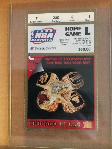 RARE 1998 CHICAGO BULLS FINALS TICKET L JORDAN 2nd To Last Game @ UNITED CENTER