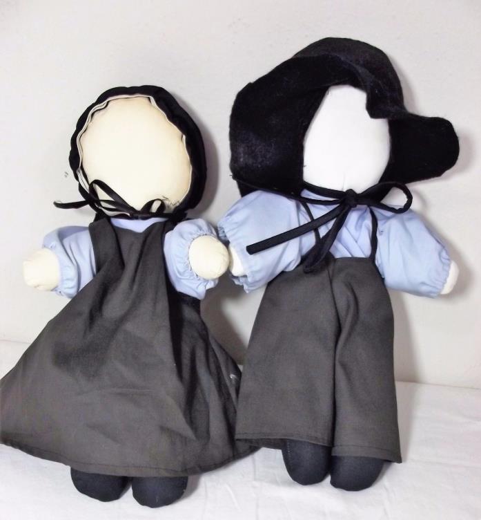Amish Family Cloth Dolls No Face Handmade 14