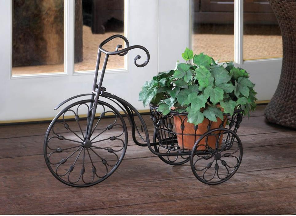Bicycle Plant Stand Wrought Iron Garden Outdoor Indoor Decor Old-Fashioned